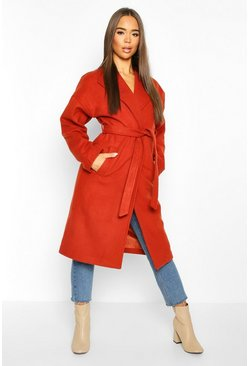 Womens Rust Wrap Belted Longline Wool Look Coat