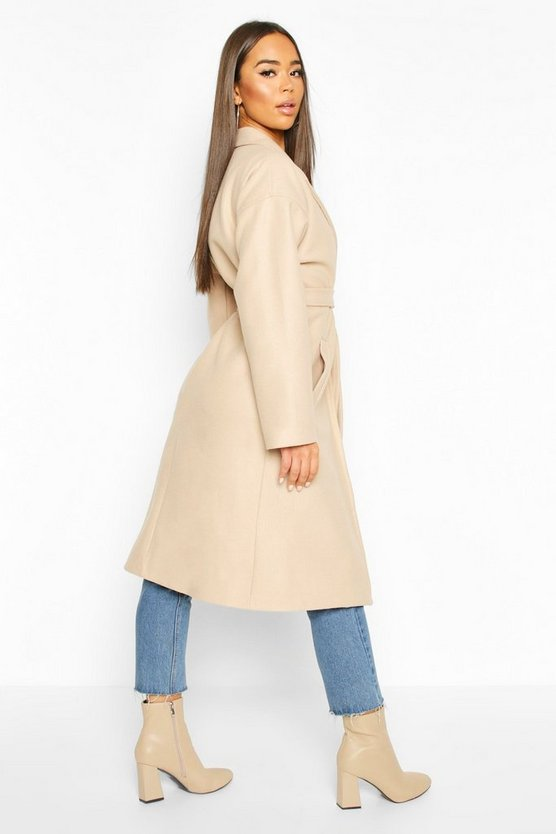 Wrap Belted Longline Wool Look Coat