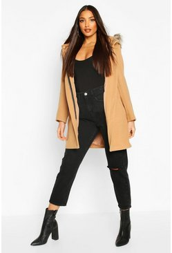 Camel Faux Fur Trim Hooded Wool Look Coat