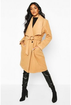 Womens Camel O Ring Belt Detail Wool Look Coat