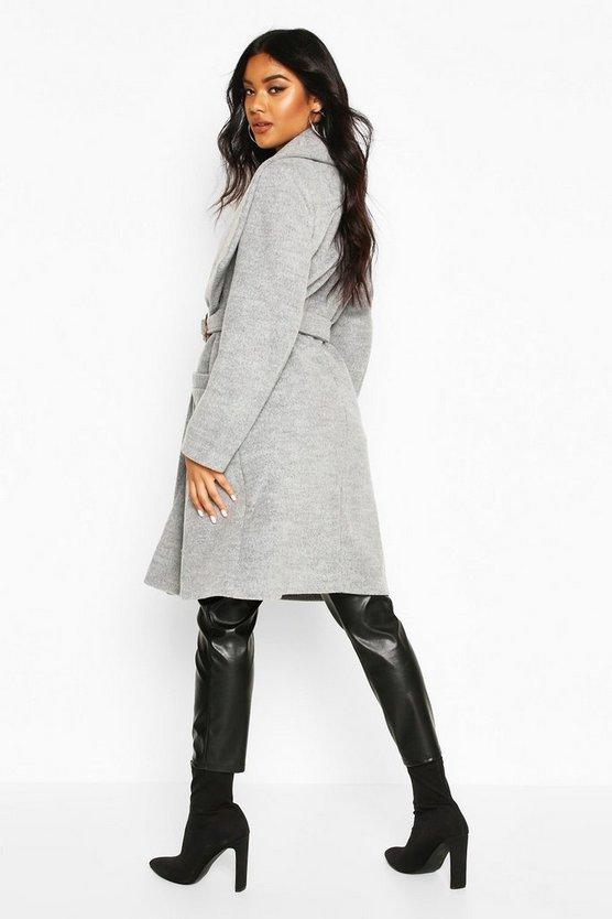 O Ring Belt Detail Wool Look Coat
