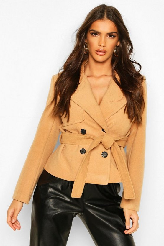 Short Belted Wool Look Trench Coat