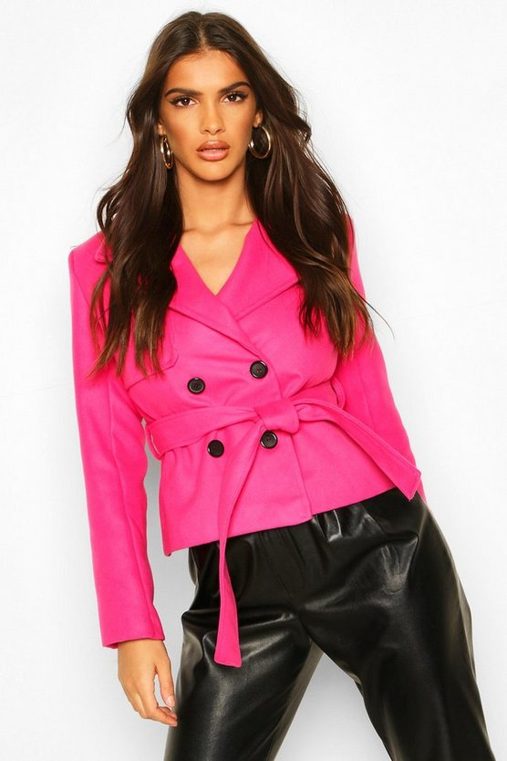 Hot pink Short Belted Wool Look Trench Coat