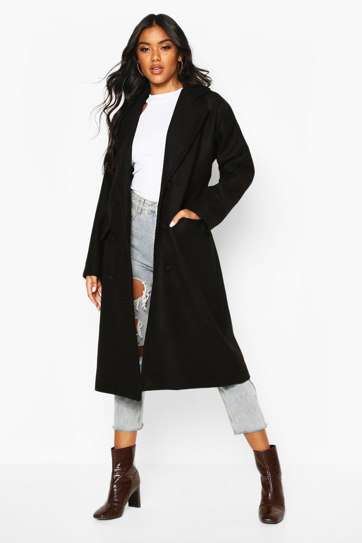 Купить со скидкой Пальто с эффектом шерстяной ткани с покрытием на пуговицах
