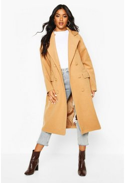 Camel Fabric Covered Buttoned Wool Look Coat