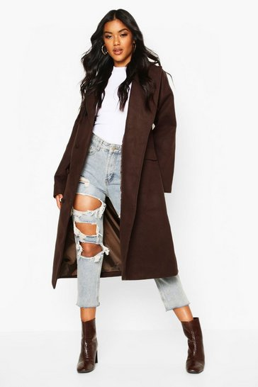 Womens Chocolate Fabric Covered Buttoned Wool Look Coat