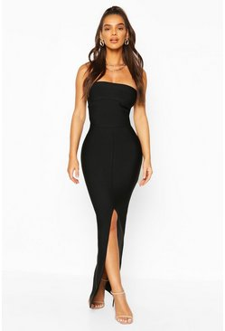 Black Premium Sculpting Bandage Bandeau Midaxi Dress