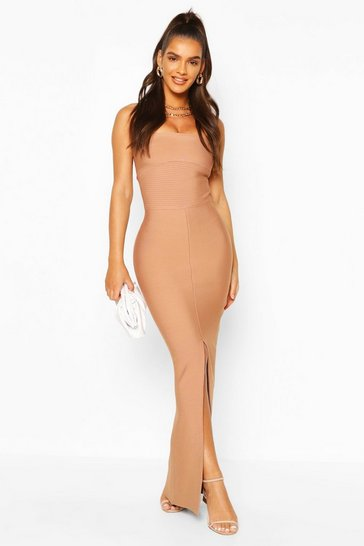 Nude Premium Sculpting Bandage Bandeau Midaxi Dress