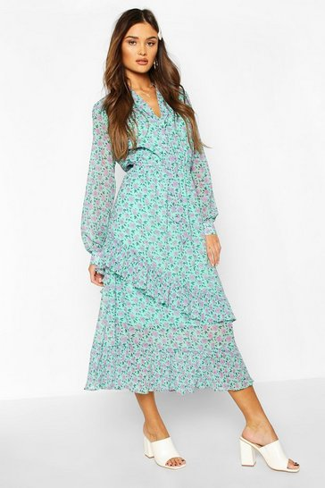 Green Floral Print Tie Neck Detail Midaxi Dress