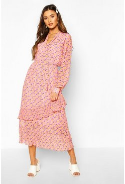 Pink Floral Print Tie Neck Detail Midaxi Dress