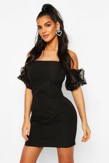 Black Organza Puff Sleeve Mini Dress