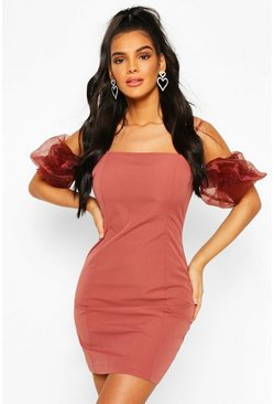 Rose Organza Puff Sleeve Mini Dress
