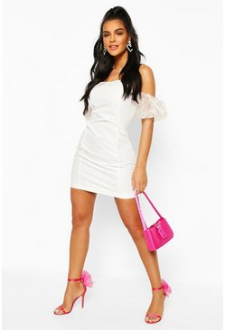 Organza Puff Sleeve Mini Dress, White