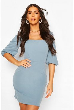 Blue Puff Sleeve Square Neck Mini Dress