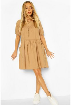 Camel Cotton Poplin Smock Dress
