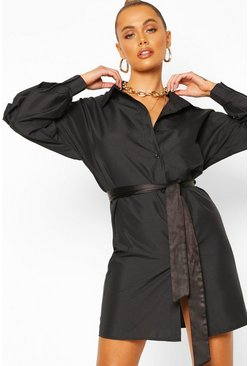 Black Puff Sleeve Belted Shirt Dress