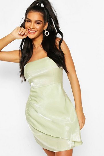 Pale green Satin Bandeau Wrap Skirt Mini Dress