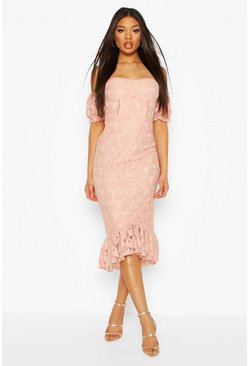Cupped Frill Hem Lace Midi Dress, Blush