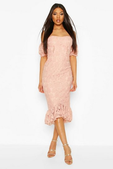 Blush Cupped Frill Hem Lace Midi Dress