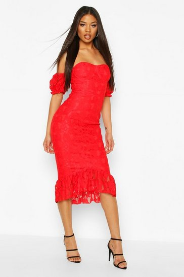 Red Cupped Frill Hem Lace Midi Dress