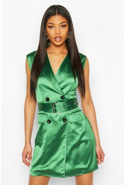 Satin Buckle Blazer Dress, Green