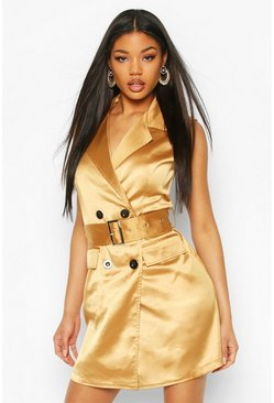 Satin Buckle Blazer Dress, Nude