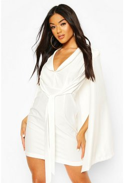 Cape Sleeve Blazer Bodycon Dress, White