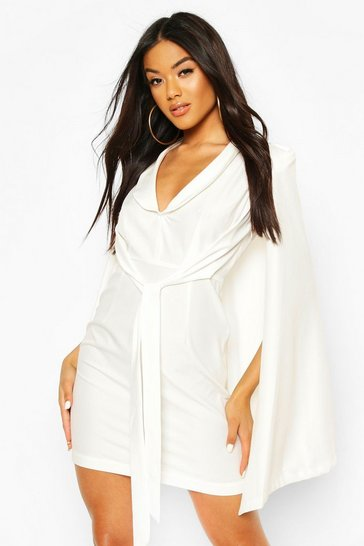 White Cape Sleeve Blazer Bodycon Dress