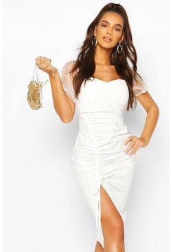 Off The Shoulder Puff Sleeve Ruched Midi Dress, White