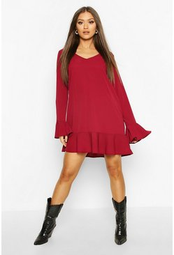 Berry Frill Hem Shift Dress