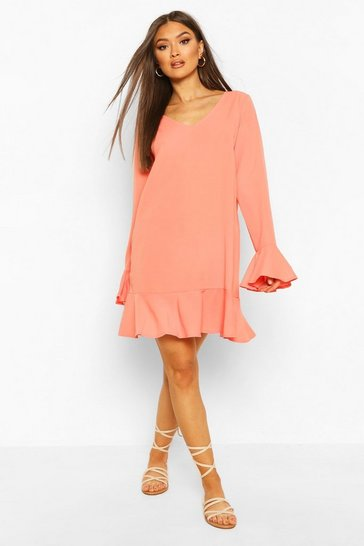 Coral Frill Hem Shift Dress