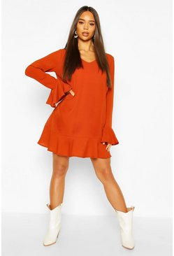Rust Frill Hem Shift Dress