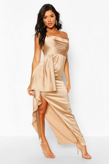 Nude Satin Cowl Drape Maxi Dress