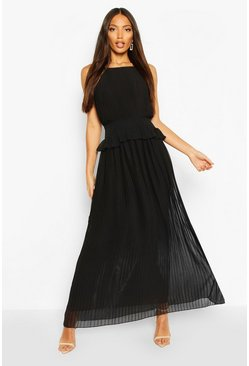 Black Pleated Frill Waist Maxi Dress