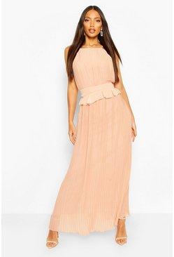Blush Pleated Frill Waist Maxi Dress