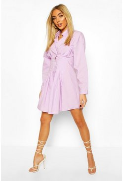 Drop Shoulder Cotton Fitted Shirt Dress, Lilac