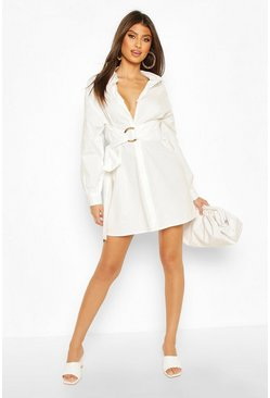 White Buckle Belted Cotton Shirt Dress