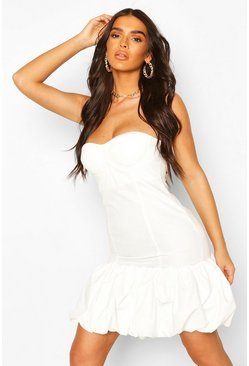 Cupped Puff Ball Hem Mini Dress, White