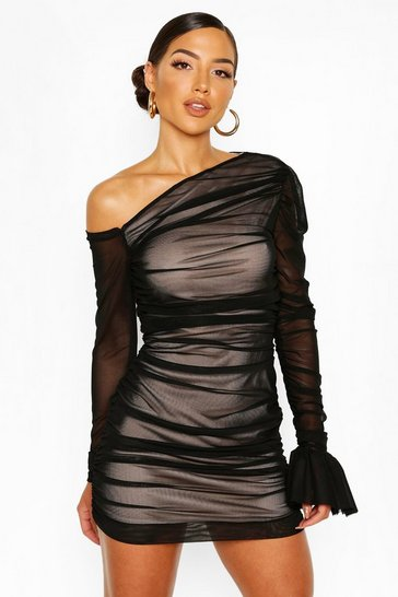 Black One Shoulder Ruched Mesh Dress