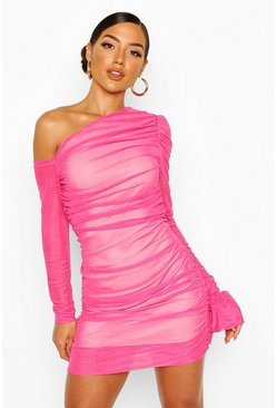 One Shoulder Ruched Mesh Dress, Pink