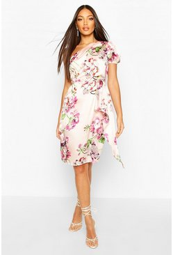 Pink Floral Print One Shoulder Drape Midi Dress