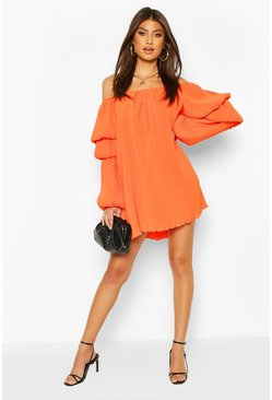 Plisse Off The Shoulder Puff Sleeve Swing Dress, Orange