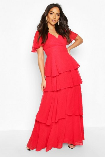 Red Dobby Chiffon Ruffle Maxi Dress