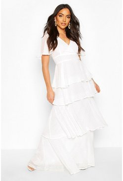 Dobby Chiffon Ruffle Maxi Dress, White
