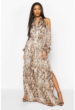 Snake Print Balloon Sleeve Maxi Dress, Brown