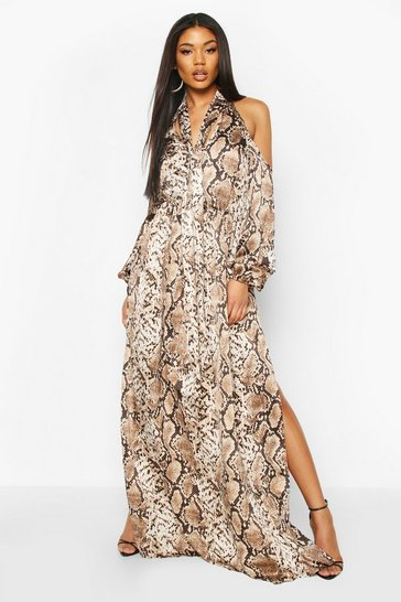 Brown Snake Print Balloon Sleeve Maxi Dress
