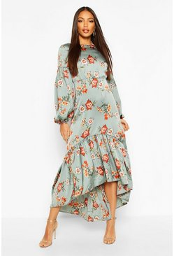 Floral Print Puff Sleeve Midaxi Dress, Sage