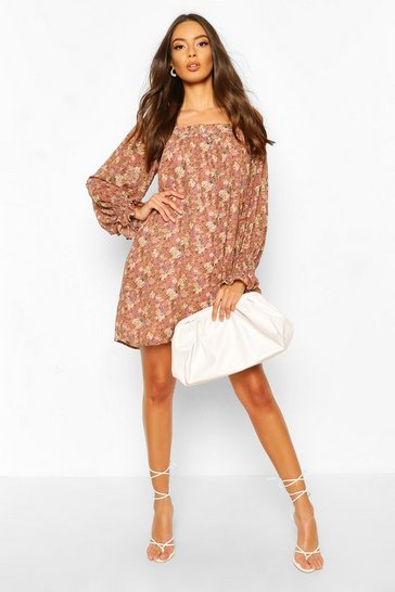 Rose Foil Floral Print Square Neck Smock Dress