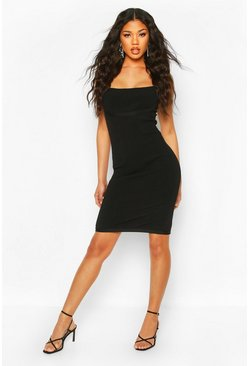 Black Premium Sculpting Bandage Rib Square Neck Midi