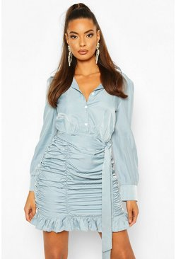 Blue Ruched Skirt Bodycon Shirt Dress